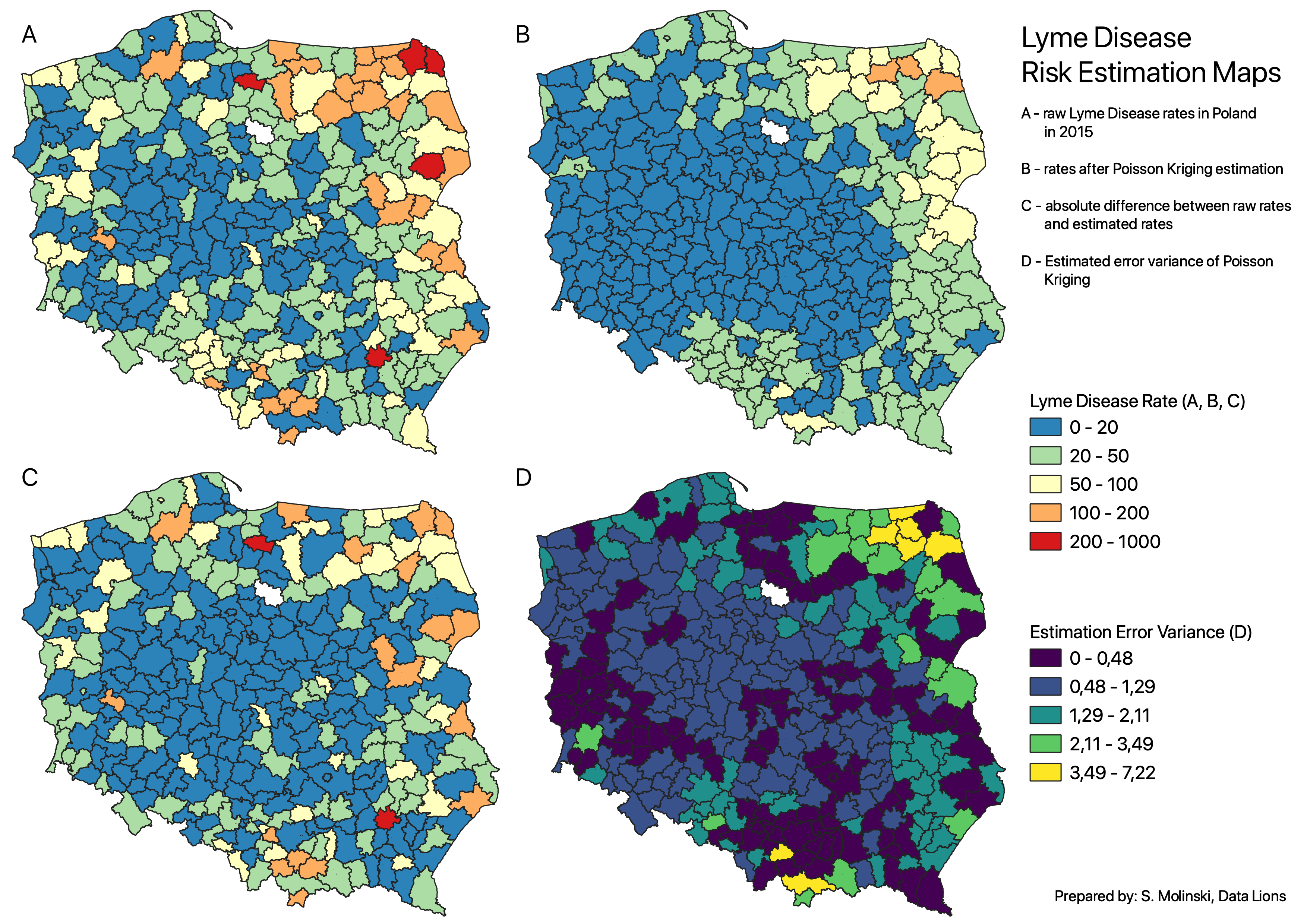 Maps of Lyme disease infection risk for Poland. Credits: S. Moliński/Data Lions
